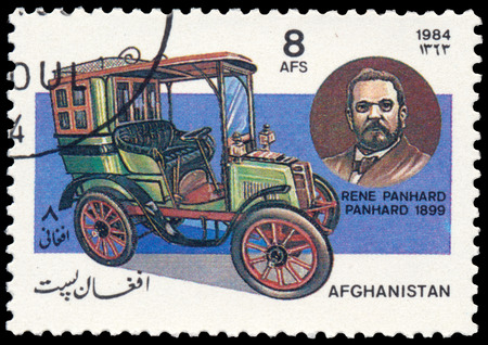 """BUDAPEST, HUNGARY - 18 march 2016: a stamp printed in Afghanistan Shows Panhard car (1899) and Portrait of Rene Panhard, series """"Classic Automobiles"""", circa 1984"""