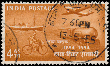 BUDAPEST, HUNGARY - 02 november 2015: stamp printed by India shows post transport, circa 1954