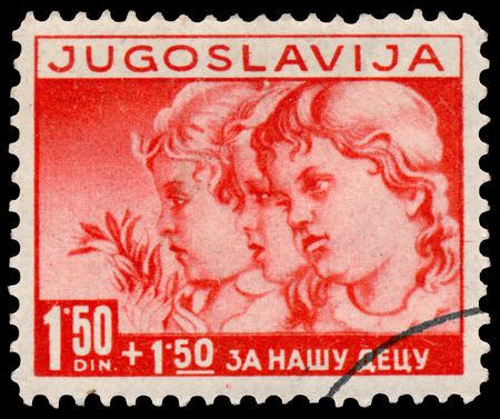 BUDAPEST, HUNGARY - 27 february 2016: stamp printed in Yugoslavia, shows children, circa 1938
