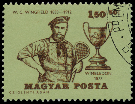 BUDAPEST, HUNGARY - 14 december 2016:  A stamp printed by Hungary, shows W. C. Wingfield, Wimbledon Champion 1877, and Wimbledon Cup, circa 1964