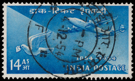 BUDAPEST, HUNGARY - 02 november 2015: stamp printed by India, shows plane and pigeon, circa 1954