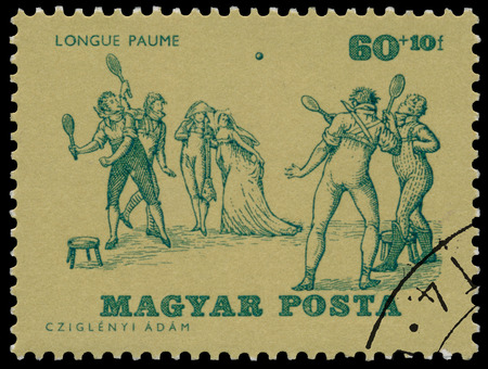 BUDAPEST, HUNGARY - 14 december 2016:  A stamp printed by Hungary, shows Tennis of 16th Century, circa 1964 Редакционное