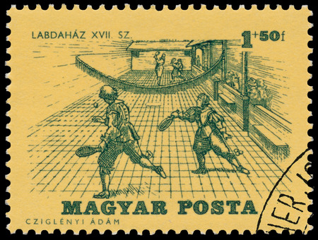 BUDAPEST, HUNGARY - 14 december 2016:  A stamp printed by Hungary, shows Tennis of 17th Century, circa 1964
