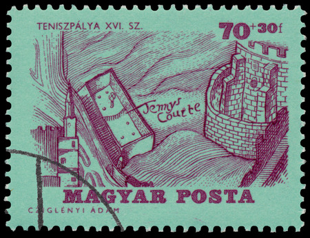 BUDAPEST, HUNGARY - 14 december 2016:  A stamp printed by Hungary, shows Tennis Court and Castle, circa 1964 Редакционное