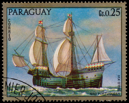 BUDAPEST, HUNGARY - 29 january 2017:  A stamp printed in Paraguay shows portual warship, circa 1972