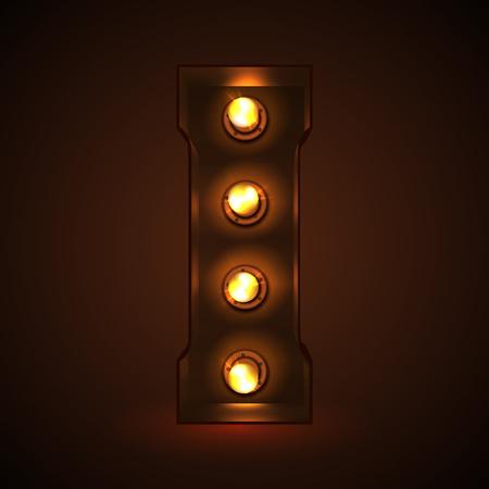 Retro light bulb font. Metallic letter I Çizim