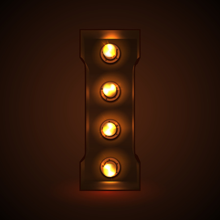 Retro light bulb font. Metallic letter I Illustration