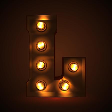 Retro light bulb font. Metallic letter L