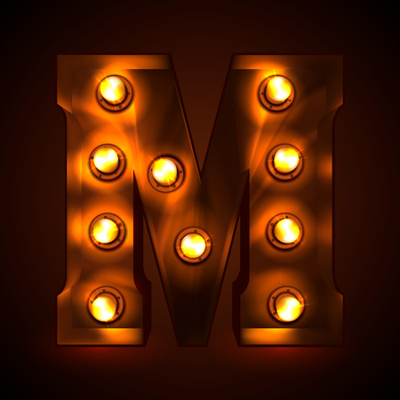 Retro light bulb font. Metallic letter M