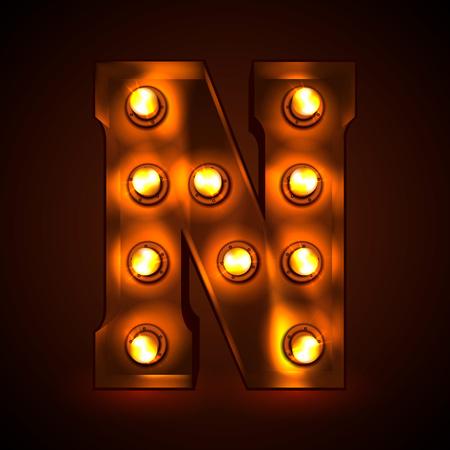 Retro light bulb font. Metallic letter N