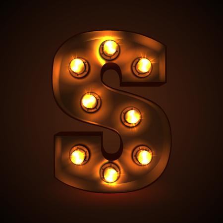 Retro light bulb font. Metallic letter S