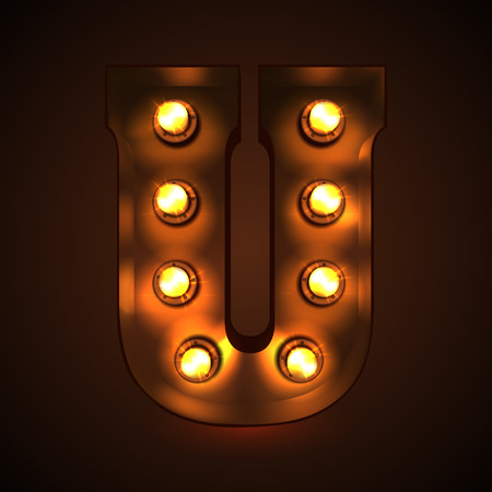 Retro light bulb font. Metallic letter U Vectores
