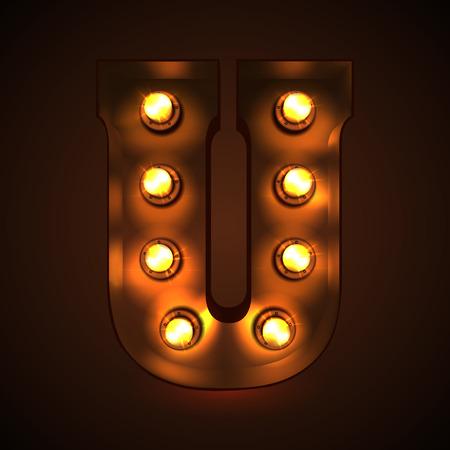 Retro light bulb font. Metallic letter U Illustration