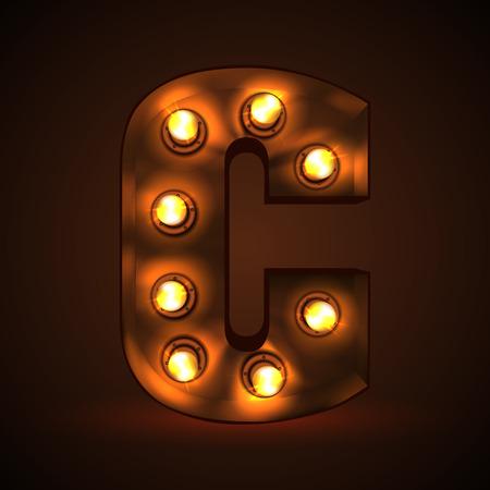 Retro light bulb font. Metallic letter C