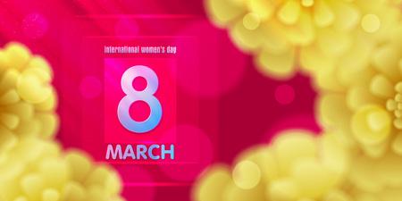March 8  Pink, Yellow, defocused bokeh paper cut Floral congratulatory banner.