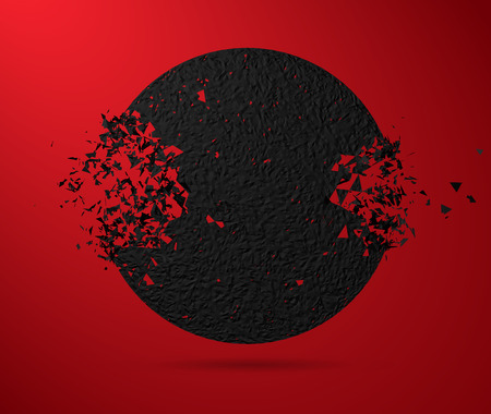 Vector illustrations, black round and stone circles with garbage isolated. Abstract black explosion. Geometric background. Vectores