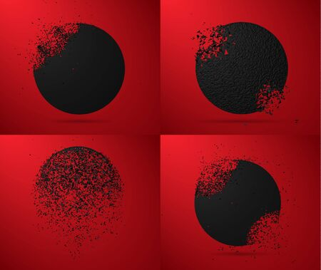 Set of vector illustrations, black round and stone circles with garbage isolated. Abstract black explosion. Geometric background.