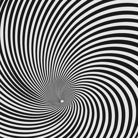 Vector optical illusion black and white twisted stripes abstract background.