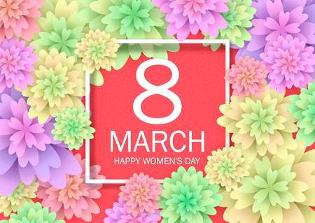 Floral greeting card for March 8, Happy Women's Day. flowers cutting out pieces of paper. Celebratory background with a square frame.