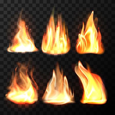 Realistic fire flames set Vector illustration.