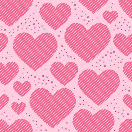 Seamless pattern of hearts, sliced stripes and crosses Vector illustration. Vettoriali