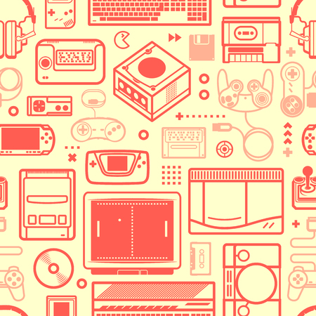 Vector seamless pattern with oldschool gaming objects. Color schematic lines.