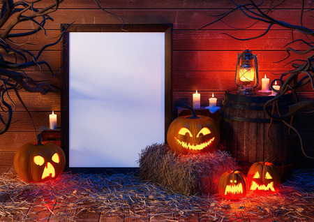 halloween pumpkin, haystack, barrel, wooden environment, candles, boxes, kerosene lamp, branches and empty frame, mockup. 3D rendering.