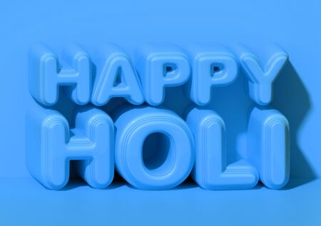 happy holi, volumetric letters isometry background, inflated, glossy and rounded. 3D rendering Stock Photo
