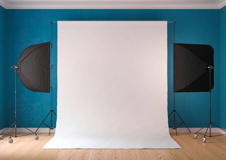 Interior of studio room with equipment. The sky-blue color of the walls. Lighting from the window.