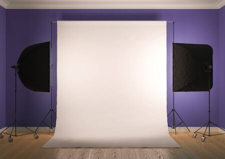 Interior of studio room with equipment. Artificial lighting with softboxes.Brilliant purple walls.3D rendering