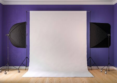 Interior of studio room with equipment. Lighting from the window.Brilliant purple walls.3D rendering Stock Photo