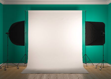 Interior of studio room with equipment. Artificial lighting with softboxes.Bright bluish green color of the walls.3D rendering Stock Photo