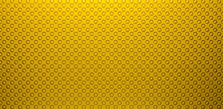 Yellow perforated surface, with a shiny balls inside.3d Rendering.