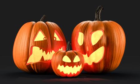 Representación 3d de calabazas de Halloween Foto de archivo - 97204549
