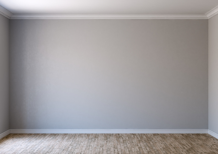 Gray wall of an empty room with parquet floor made of solid wood and scattered light from the window, minimalist interior, 3d illustration Banque d'images - 97204690