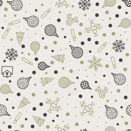 Vector Christmas seamless pattern, snowflakes, letters, ate, candles, balls, confetti, sweet sticks Stock Illustratie