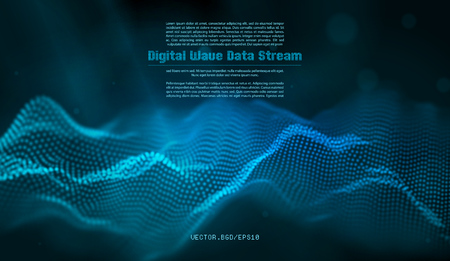Vector illustration of a particle. Abstract wave flow. Stream of blurry dots