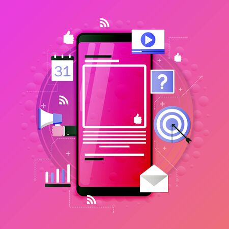Design of modern vector illustration concept of everyday use of smartphone with multimedia applications.