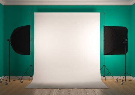 Interior of studio room with equipment. Artificial lighting with softboxes.Bright bluish green color of the walls.3D rendering Zdjęcie Seryjne