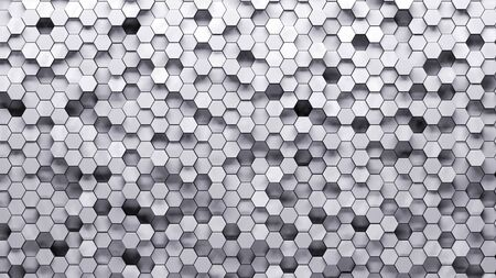 abstract hexagonal white mosaic, top lighting. Technological backdrop.3d Rendering.
