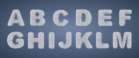Voxel alphabet white on a blue background, Pixel letters set.