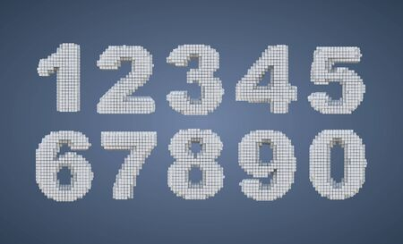 Voxel white figures on a blue background, a set of pixel numbers.