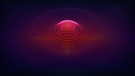 Vector abstract background. Radial wave, surge, oscillations. Array of glowing dots on a dark background.