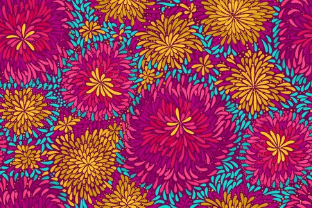 Vector abstract background. Colored brush strokes seamless pattern. Handmade. Multi-colored tops of deciduous plants.