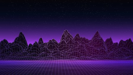 Abstract background. Polygonal landscape. Mountains, horizon, neon sunset. Empty space. Vector backdrop. Retro illustration.