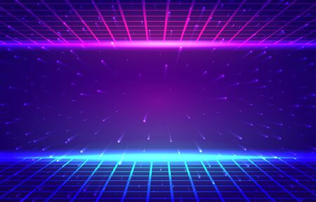 Vector abstract background. Retro horizon, mesh in neon glow. Particles scattering from the center. Ilustracja