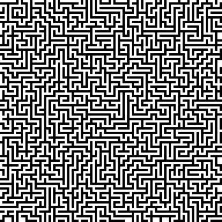 Seamless vector texture. Abstract maze pattern, black and white background, blank template for your ideas