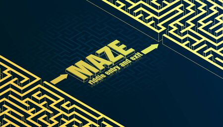 Vector banner, isometric maze, abstract background, template for your ideas