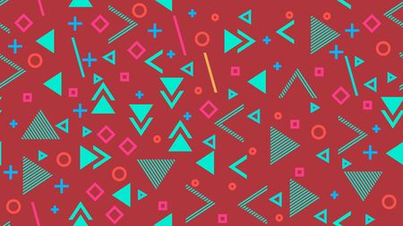Vector seamless background, abstract geometry, memphis. Multi-colored rhombuses, triangles, pluses, circles, hyphens, perforations. Ilustracja