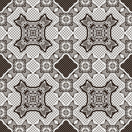 Seamless monochrome pattern, geometric drawing. Black and white vector background.